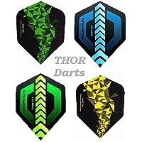THOR-DARTS 30 Stück (10 Set) Extra Strong Darts Flights HD-280 Green Blue Black 150 Micron Flys Extra Lange haltbar Standardform Ultra Strong grün-schwarz blau-schwarz HD150 Plus