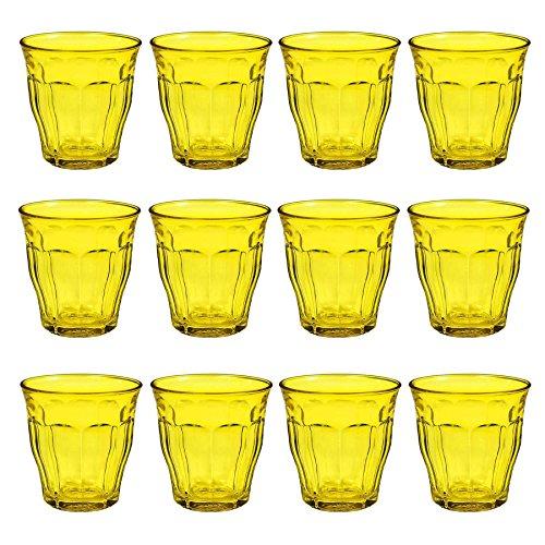 DURALEX Picardie Colored Glasses - 250ml Gobelets pour l'eau, jus - Jaune - Paquet de 12
