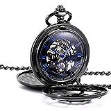 TREEWETO taschenuhr mit kette herren schwarz doppelabdeckungen blau römische ziffern retro uhr taschenuhren mechanisch pocket watch
