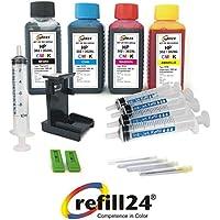 Kit de recharge pour cartouches d'encre HP302/302XL avec flacons d'encre noire et couleur de haute qualité, clip et accessoires inclus