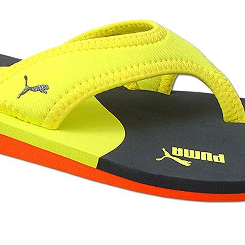 Puma Why Flip Zehentrenner Zehensandale Sandale Badeschuhe Unisex (38, gelb-blau-orange) -