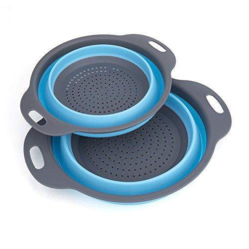 Passoire Pliable Silicone, Diealles Pliable Passoire Pliante Cuisine Fruit Basket Panier de Filtre Collapsible Colander Set pour La Cuisine Usage Domestique (Bleu)