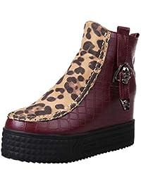 Leopard-Druck Warm Retro Leder Stiefel, Quaan Mode Knie Leder Winter Stiefel Schnalle Strecken Pailletten Spitze Wildleder- Gürtelschnalle Stiefelette Schuhe