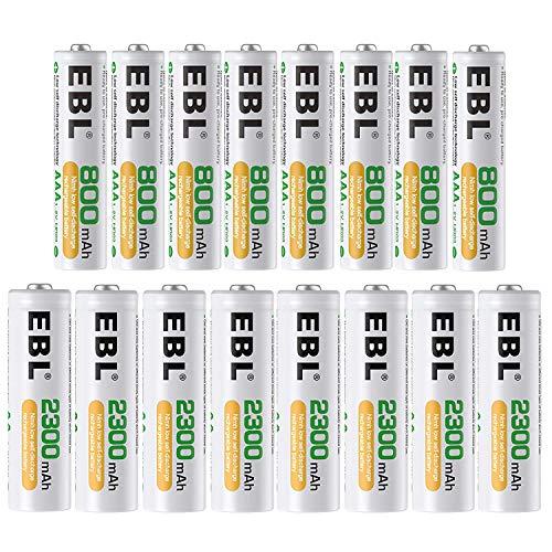 EBL NI-MH Akku 16er Kombi-Pack, 8X AA Mignon 2300mAh + 8X AAA Micro 800mAh, 1200 Ladezyklen, Starke Leistung und geringe Selbstentladung - Aaa Pack