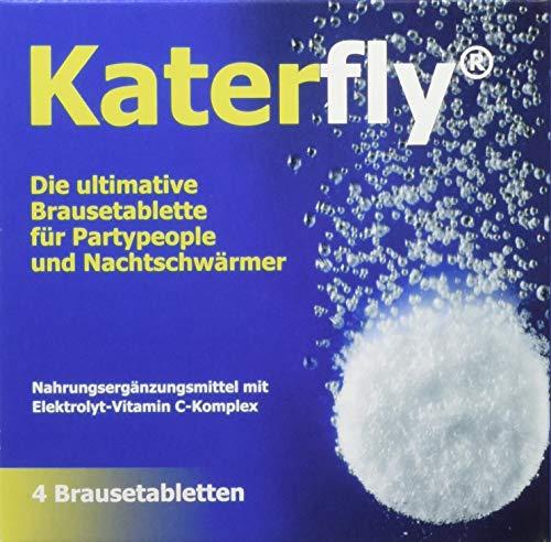 Katerfly Brausetabletten - 4 Stück - Vor dem Kater Frühstück - Elektrolyt-Vitamin C-Komplex - Anti Hangover - Bei Müdigkeit und Erschöpfung - Unterstützt das Nervensystem - Vom Apotheker entwickelt