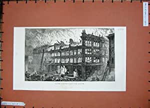 Old Original Antique Victorian Print Fire Whiteley'S Queens-Road Bayswater Ruins Flames 1887 646N162