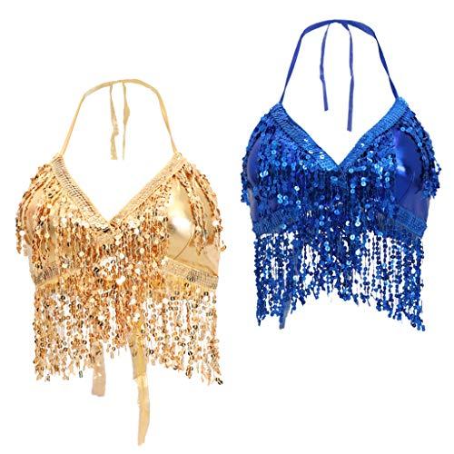 chiwanji 2pcs Adjustable Halter Top Belly Dance Bra Samba Latin Dancing - Kostüm Der Klassischen Indischen Tänze