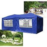 HG® Falt Pavillon 3x6m Gartenzelt Festzelt Bier Pavillion Klappzelt Blau Zelt Gartenpavillon PVC