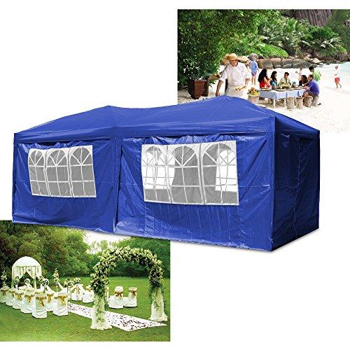 HG Falt Pavillon 3x6m Gartenzelt Festzelt Bier Pavillion Klappzelt Blau Zelt Gartenpavillon PVC