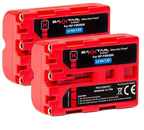 2X Baxxtar PRO - Ersatz für Akku Sony NP-FM500H (echte 2040mAh UL-Zertifikat) mit Infochip - Intelligentes Akkusystem