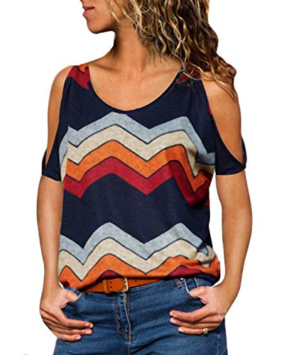 YOINS Sexy Schulterfrei Oberteil Damen Tshirt Sommer Oberteile Frauen Tunika Damen Tops Gestreift Pulli Lose Hemd Kurzarm-Marineblau EU36-38  (Herstellergröße:M)