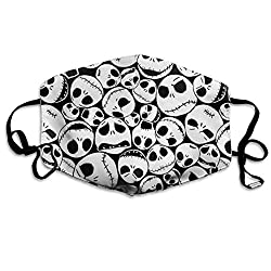 Daawqee Staubschutzmasken, Black Christmas Skull Face Masks Breathable Dust Filter Masks Mouth Cover Masks with Elastic Ear Loop
