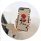 europea quadrato ricami in 3D è aumentato casse del telefono per iPhone 6 6s 8 7 più X XR XS MAX moda cover in silicone morbido cordino, colori 3, per iPhone 7 (8), con la cordicella