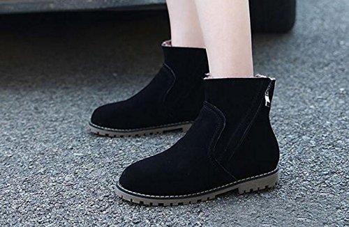 Wealsex Bottes Plates Suédé Automne Hiver Boots Chaudes Femme Taille 34-43 nior fourré intérieur