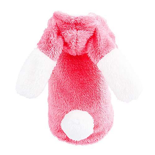 JKRTR Haustierkleidung 2019,Kaninchen Mantel Kleid Pullover Bekleidung(Rosa,XS)