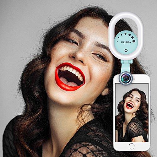 Selfie Ring Licht, Evershop Schonheit Selfie Licht mit 0,6X Breite Winkel lens mit 15X Makro-Objektiv-Kit, Clip-on aufladbare LED Ring Flash Light fur iPhone, Samsung, Huawei und alle Smartphones Grun