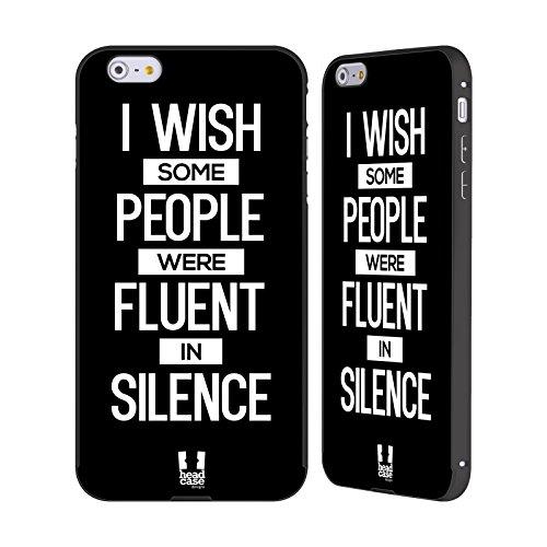 Head Case Designs For A Reason Freche Sprüche Schwarz Rahmen Hülle mit Bumper aus Aluminium für Apple iPhone 6 Plus / 6s Plus Fluent In Silence