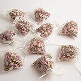 10 Duftkissen/Duftbeutel mit angenehmen Rosenduft und parfümierten rosa Rosenknospen und Rosenblättern in trasparenten Organzasäckchen für Schrankduft und Schrankdeko (10 Stück)