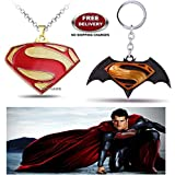 (2 Pcs COMBO SET) - SUPERMAN ( GOLD PLATED ) EXCLUSIVE PENDANT & DAWN OF JUSTICE LOGO (BLACK/YELLOW) IMPORTED KEYCHAIN. LADY HAWK DESIGNER SERIES 2018. ❤ ALSO CHECK FOR LATEST ARRIVALS - NOW ON SALE IN AMAZON - RINGS - KEYCHAINS - NECKLACE - BR