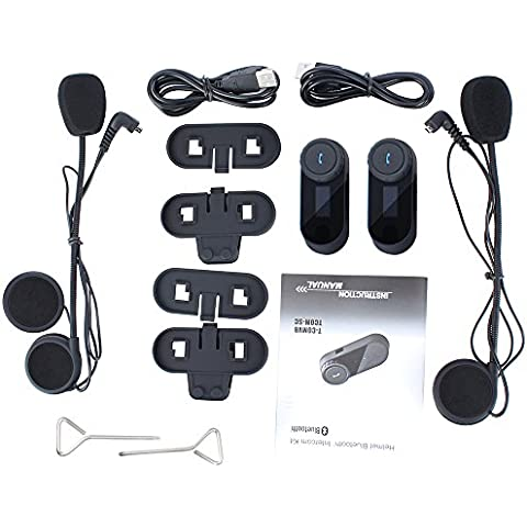 Fodsports Original del intercomunicador del casco de la motocicleta inalámbrica Bluetooth Interphone 800m intercomunicador del casco de auriculares FM altavoz Hi-Fi Sintonizador 3 Los jinetes con pantalla LCD (paquete de 2)
