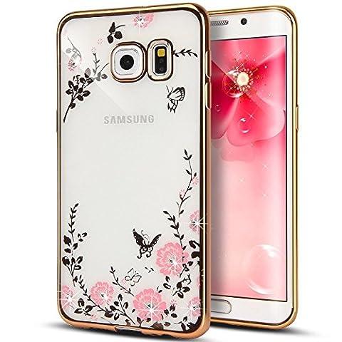 Samsung Galaxy S6 Edge hülle, Eleganter Bling Funkeln ultradünne Galvanisiergeräte weicher Gel Kristallrhinestone Diamant freier Gummi TPU Silikon TPU Tasche Schutzhülle Hülle Tasche für Samsung Galaxy S6 Rand [Gold Pink