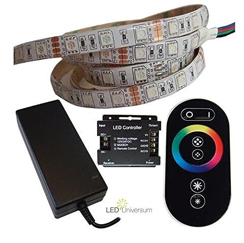 10 Meter RGB LED Streifen Set (60 LED/m, IP65) inkl. Controller, Funkfernbedienung und 12 A