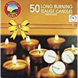 Collection House Ujala Wax Tealight Candles For Decoration | Set Of 50 | White | Unscented | Max Burning Time - 4 Hrs