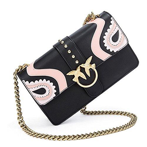 Xinmaoyuan Borse donna Swallow bloccare il pacchetto della catena di colpire il colore lettere modello di ricamo di vacchetta Piazza Borsa tracolla borsette in cuoio,blu Rosa