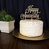 #5: JoyGlobal Happy Anniversary Acrylic Cake Toppers Decorating Party (Golden Colour Set of 2 pcs)