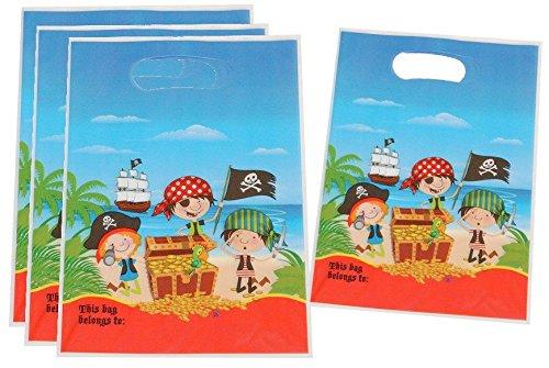 Unbekannt 6 Stk. Partytüten Piraten mit Schatztruhe Geburtstagstüten Folie Jungen Mitgebsel Tüten Tasche