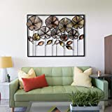 #9: Craftter Colorful Flowers in Frame Metal Wall Décor Hanging Large Wall Sculpture Art