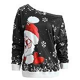 VEMOW Heißer Elegante Damen Frauen Frohe Weihnachten Weihnachtsmann Print Skew Kragen Casual Daily Party Freizeit Sweatshirt Bluse(X1-c-Schwarz, EU-34/CN-M)