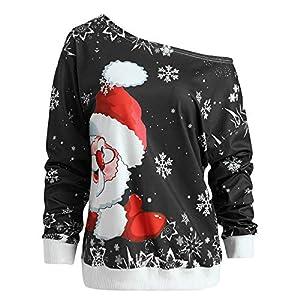 Gusspower Damen Weihnachtspullover Off Shoulder Langarm Christmas Sweater 3D Weihnachtsmann Rot Drucken Sweatshirt Asymmetrie Freizeit Top