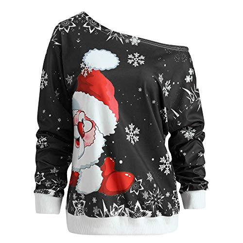 (KEERADS Fashion Women Merry Christmas Santa Claus Snow Print Skew Collar Strapless Tops Sweatshirt Blouse T-Shirt (M,Noir))