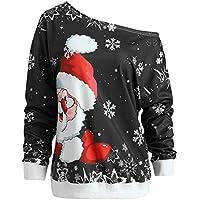 Hanomes Damen pullover, Mode Frauen Frohe Weihnachten Weihnachtsmann Print Skew Kragen Sweatshirt Bluse preisvergleich bei billige-tabletten.eu