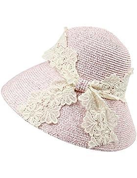 LVLIDAN Sombrero para el sol del verano Lady Anti-sol gran lado ancho del sombrero de paja plegable rosa