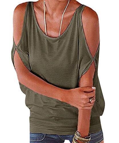 365-Shopping® Japan Style von Damen Top T - Shirt Bluse Longshirt Tunika Tanktop Oberteil (Asian XL, Armeegrün) (Tunika Bluse Top)