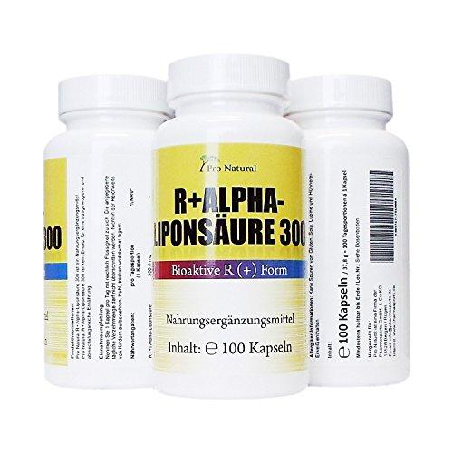 Alpha Liponsäure biologisch aktive R-Form 300mg 100 vegetarische Kapseln Herstellung in Deutschland (reines R (+) Enantiomer, chromatographisch gereinigt)