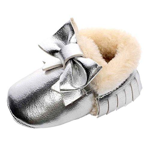 Overdose Bebê Unisex Suaves Sola De Couro / Sapatos De Algodão Infantis Sapatos Jovem-menina-criança Quentes 0-6 Meses 6-12 12-18 Silber3-pu Leater