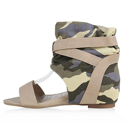Modische Damen Camouflage Schaftsandaletten Prints Wedges Creme Camouflage Camargo