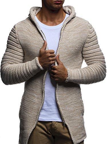 LEIF NELSON Herren Jacke Hoodie Strickjacke Pullover Kapuzenpullover Jacke Sweatjacke Zipper Sweatshirt Strick LN20731; Gr_¤e XXL, Beige