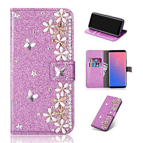 Artfeel Glitzer Leder Brieftasche Hülle für Samsung Galaxy S8 Plus, Bling Glänzend Strass Magnetisch Flip Handyhülle mit Kartenfächer,Handarbeit 3D Diamant Blume Stand Hülle-Floral Lila