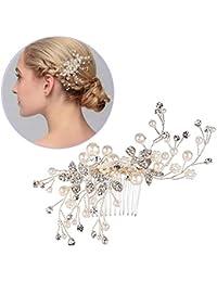 Horquillas de pelo para novia, Mujer Artificial perlas flor de cristal peine pelo, mano