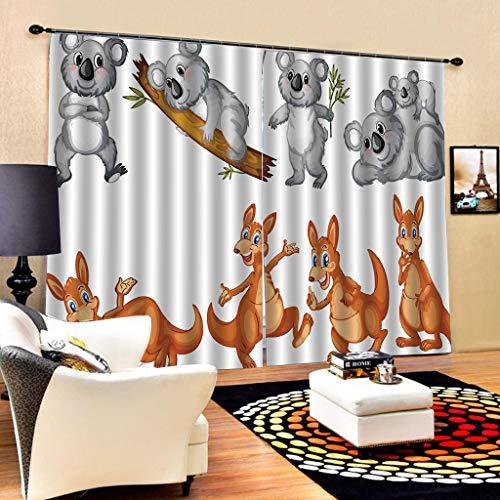 Isolierte Känguru (HomeAZWQ Thermische Isolierte Verdunkelungsvorhänge 3D Druck Wirkung Cartoon Braun Känguru Und Graue Maus Vorhang Vorhänge Für Hauptdekoration Wohnzimmer Fenster-H245 X W340cm)