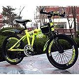 FJW Unisexo Bicicleta de montaña Plegable 18 Pulgadas 20 Pulgadas 22 Pulgadas Acero de Alto Carbono Velocidad única Estudiante Niño Ciudad del Viajero Cabellera Dura Bicicleta,Yellow,20Inch