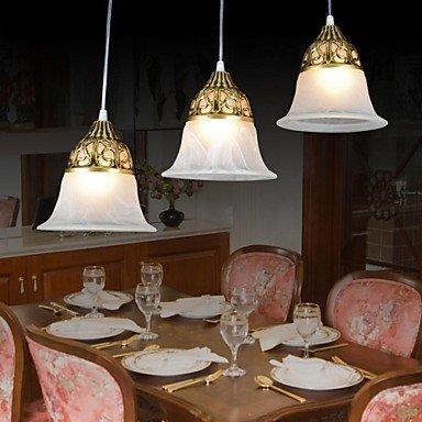 Deckenleuchte-bronze-anhänger (BinLZ Chandelier Moderne Kronleuchter Deckenleuchten Anhänger Bronze Kronleuchter DREI-Glass Classical European 220V 3C Ce FCC Rohs für Wohnzimmer Schlafzimmer)
