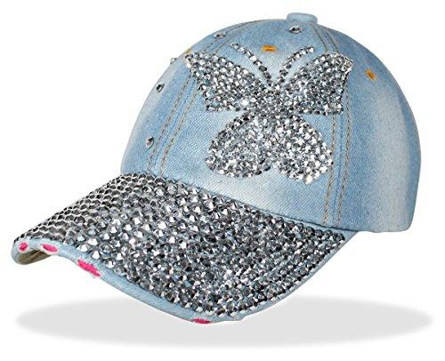 Baseball Cap Mütze Kappe mit Strasssteinen Glitzer Schmetterling Muster - K001 (K001) ()