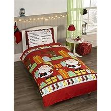Postal con diseño de regalos de Navidad Papá Noel rojo blanco mezcla de algodón juego de cama infantil