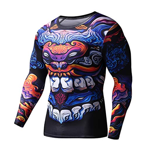 Z-Pertbil Sport Mann Shirt 3D Dragon Gym Kleidung FüR Gym S-2Xl Fitness Crossfit Plus GrößE Gcj201 Asia XL - Dragon Thermo Shirt
