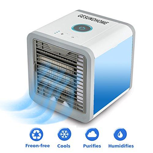 Personal Space Air Cooler,USB Luftkühler 3 in 1 Tragbare Mini Mobile Klimageräte Luftbefeuchter und Luftreiniger mit 7 Farben LED-Atmosphäre Lichter
